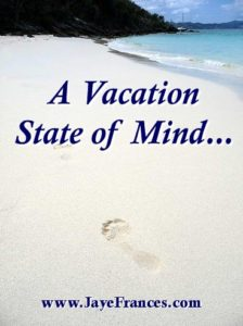 picture of white floury sandy beach blue ocean blue sky a vacation state of mind jaye frances author www.jayefrances.com