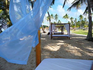 picture of romantic beds on beach with flowing drapes white sandy beach palm trees tropical location jaye frances a vacation state of mind www.jayefrances.com